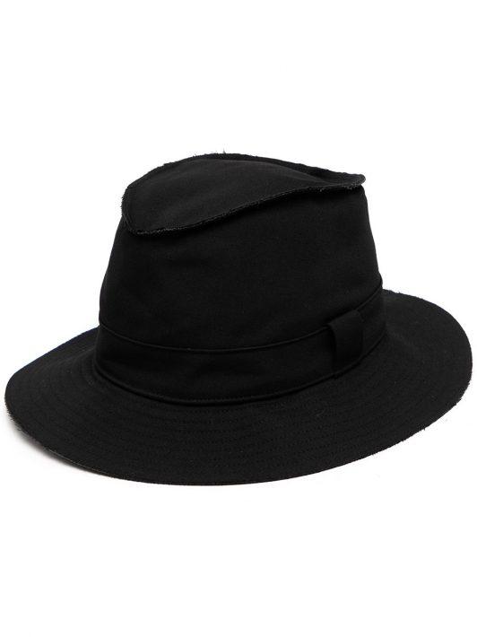Yohji Yamamoto raw-cut wool hat - Schwarz
