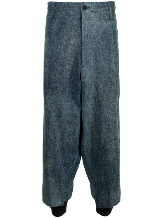 Yohji Yamamoto wide-leg denim trousers - Blau