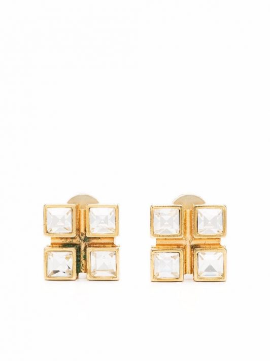 Yves Saint Laurent Pre-Owned 2010s Ohrclips mit Kristall - Gold