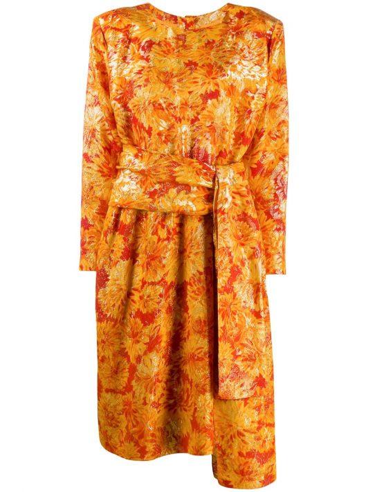 Yves Saint Laurent Pre-Owned Lurex-Kleid mit Blumenmuster - Orange