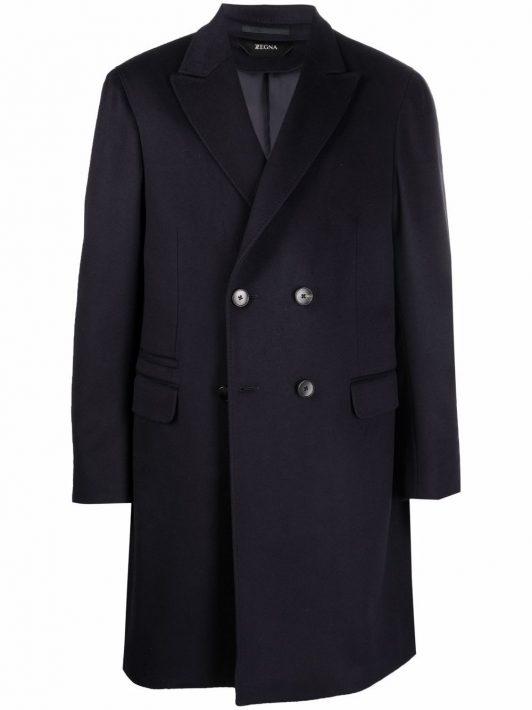 Z Zegna double-breasted mid-length coat - Blau