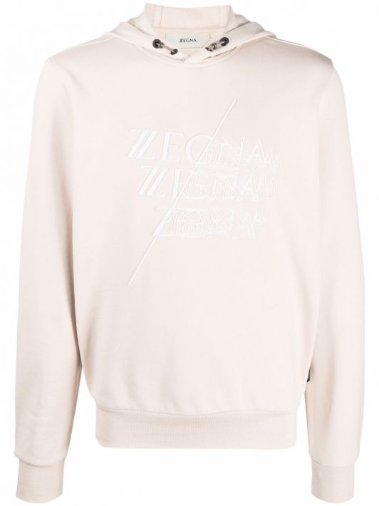 Z Zegna embroidered logo cotton hoodie - Nude