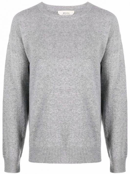 Z Zegna ribbed-knit crew neck sweater - Grau