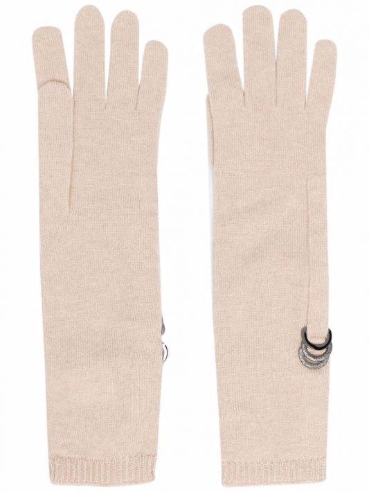 Brunello Cucinelli ring-embellished knitted gloves - C7961 BEIGE