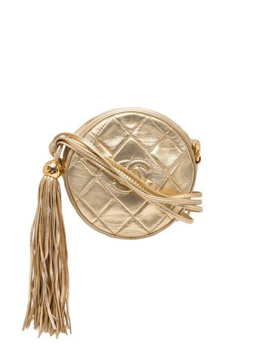 Chanel Pre-Owned 1990s Umhängetasche mit Rautensteppung - Gold
