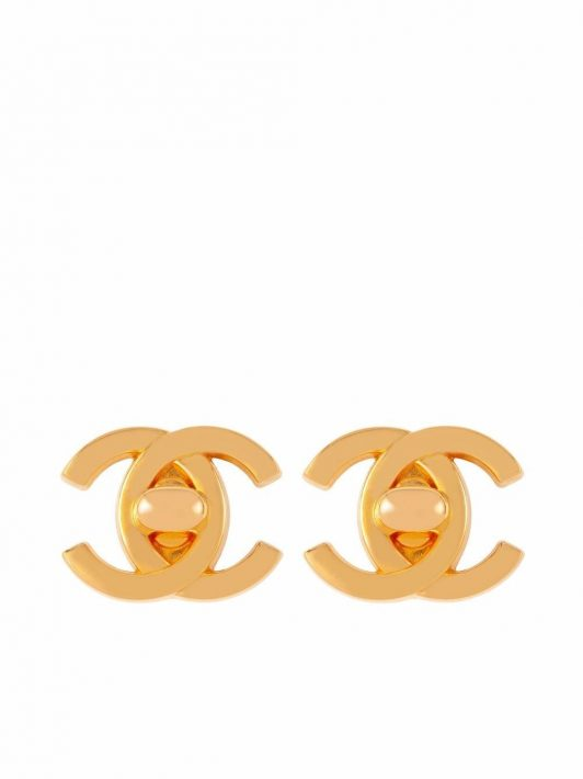 Chanel Pre-Owned 1995 Ohrclips mit CC Lock - Gold
