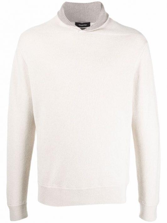 Ermenegildo Zegna Pullover mit geripptem Kragen - Weiß