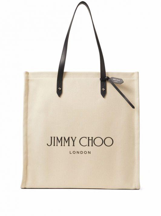 Jimmy Choo Canvas-Handtasche mit Logo-Print - Nude