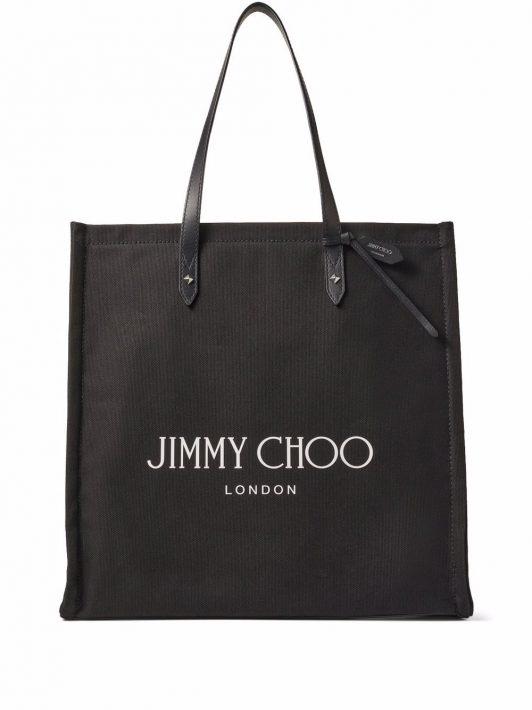 Jimmy Choo Canvas-Handtasche mit Logo-Print - Schwarz