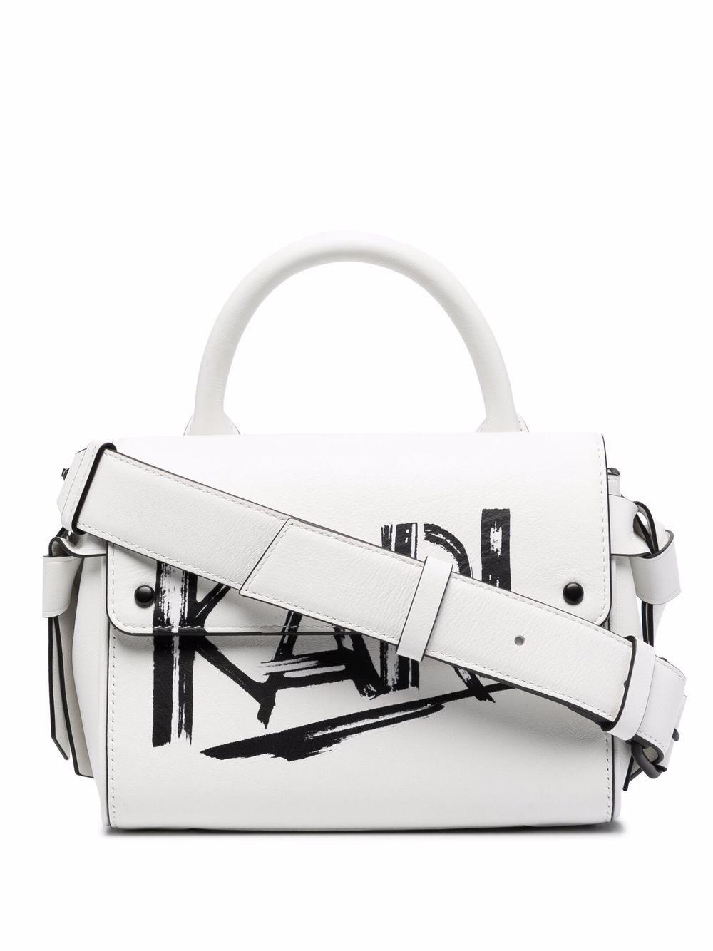 Karl Lagerfeld K/Ikon Handtasche mit gemaltem Logo - Weiß