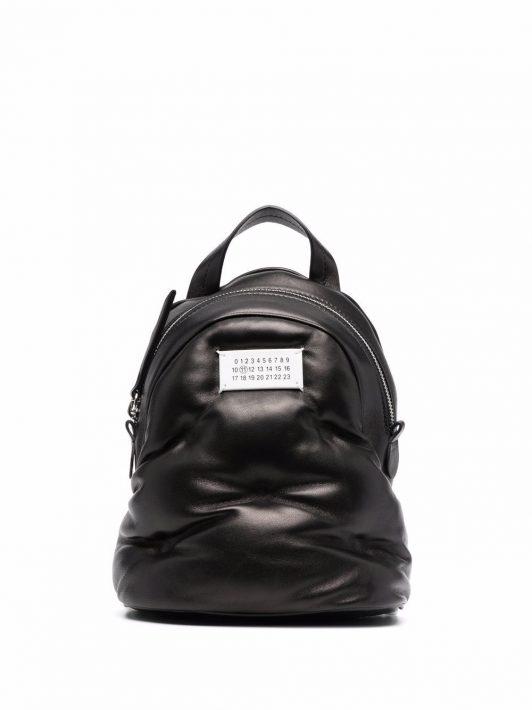 Maison Margiela padded number-logo backpack - Schwarz