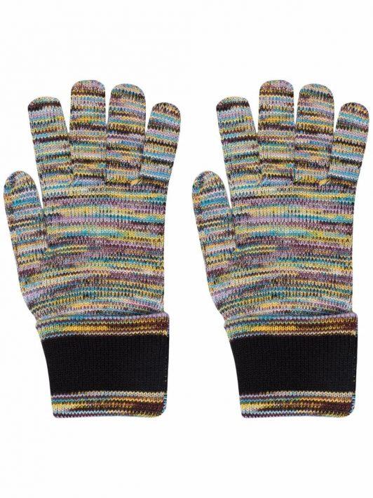 Missoni striped-knit gloves - Blau