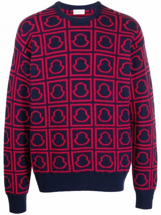 Moncler Pullover mit Logos - Blau
