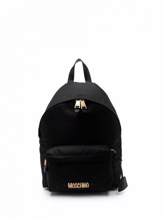 Moschino logo-plaque backpack - Schwarz