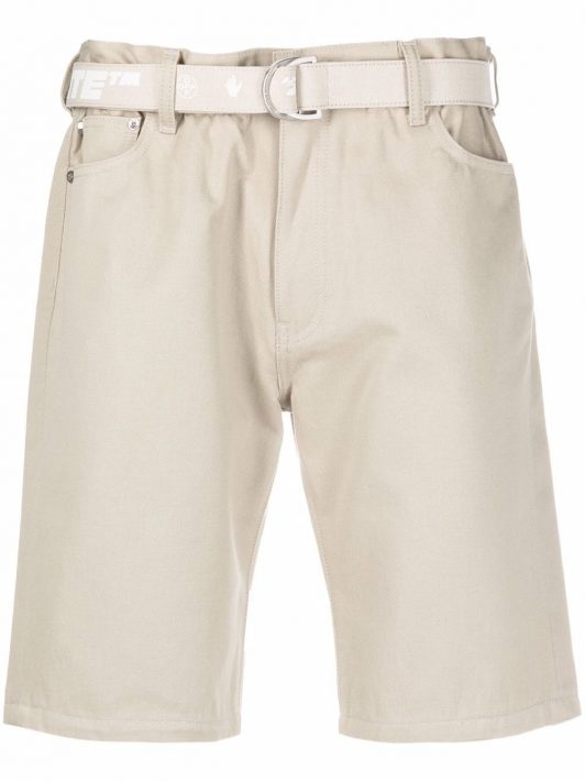 Off-White belted Bermuda shorts - Nude