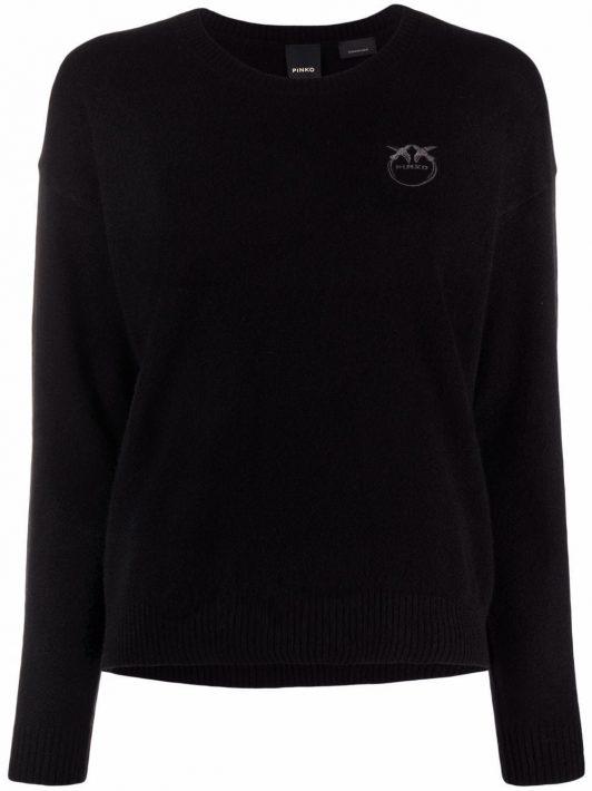 Pinko Love Birds-embroidered cashmere jumper - Schwarz