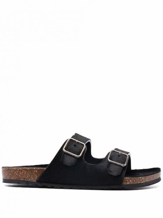 Saint Laurent buckled slide sandals - Schwarz