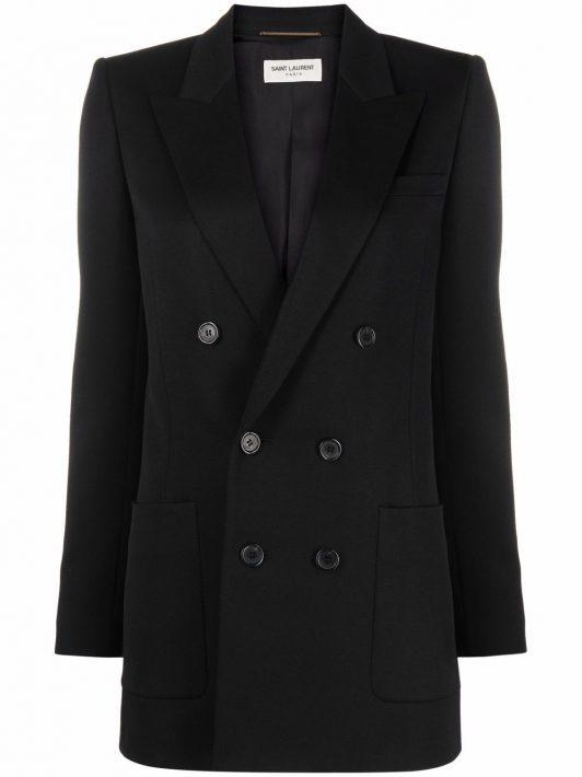 Saint Laurent peak-lapel double-breasted jacket - 1000 BLACK