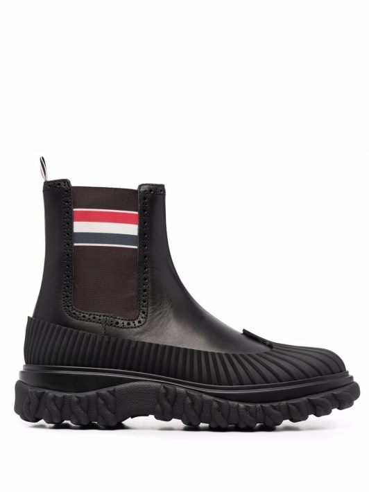 Thom Browne RWB stripe ankle boots - 001 BLACK