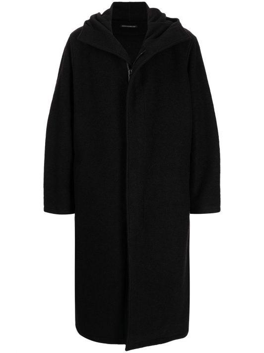 Yohji Yamamoto oversized hooded coat - Schwarz