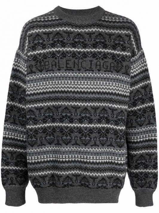 Balenciaga Pullover mit Fair-Isle-Muster - Grau