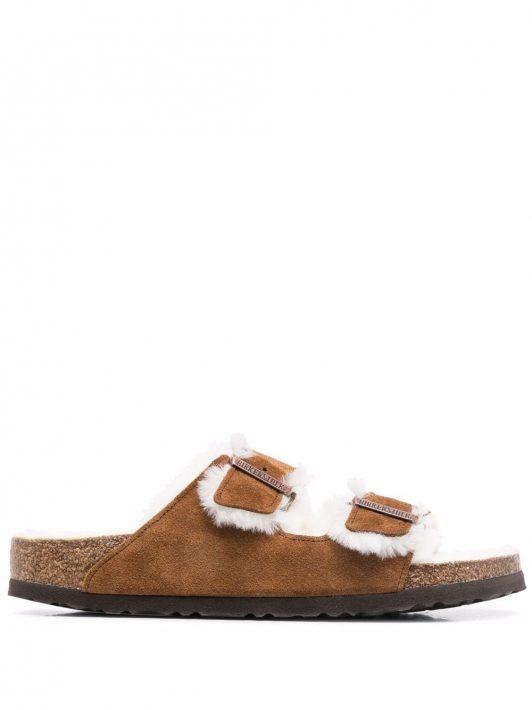 Birkenstock Arizona fur-lined sandals - Nude