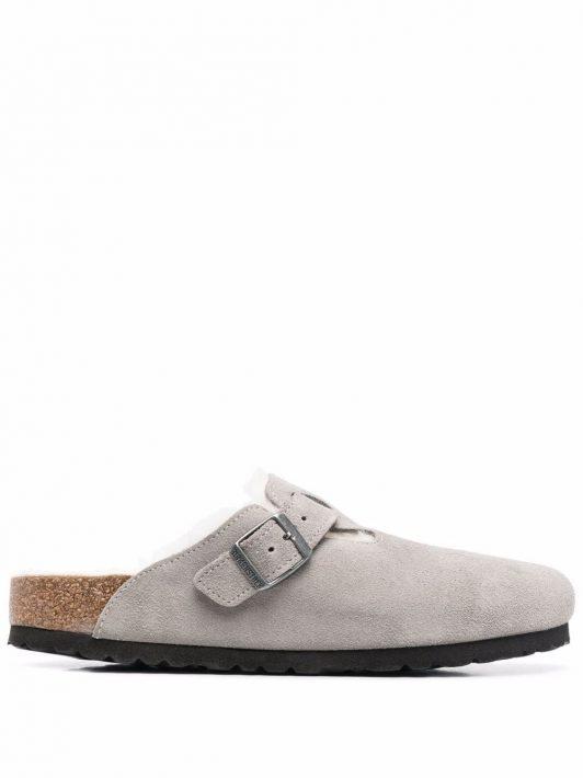 Birkenstock Boston fur-lined buckle sandals - Grau
