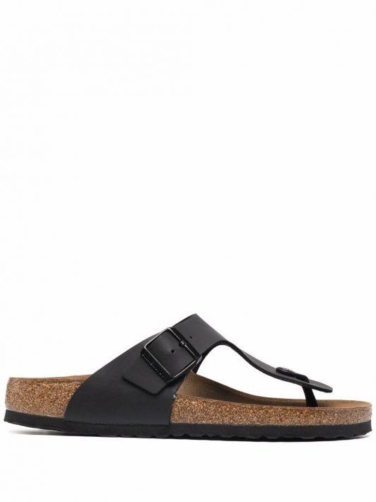 Birkenstock T-strap leather sandals - Schwarz