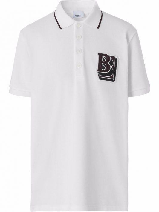 Burberry Poloshirt mit Logo-Patch - Weiß