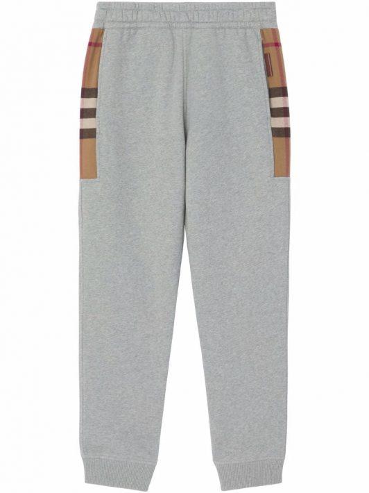 Burberry check-panel track pants - Grau