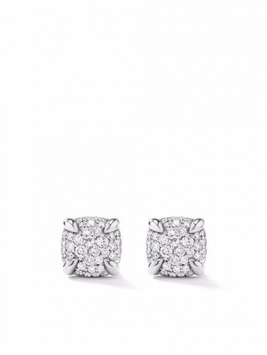 David Yurman Petite Châtelaine Ohrstecker mit Diamanten - Silber