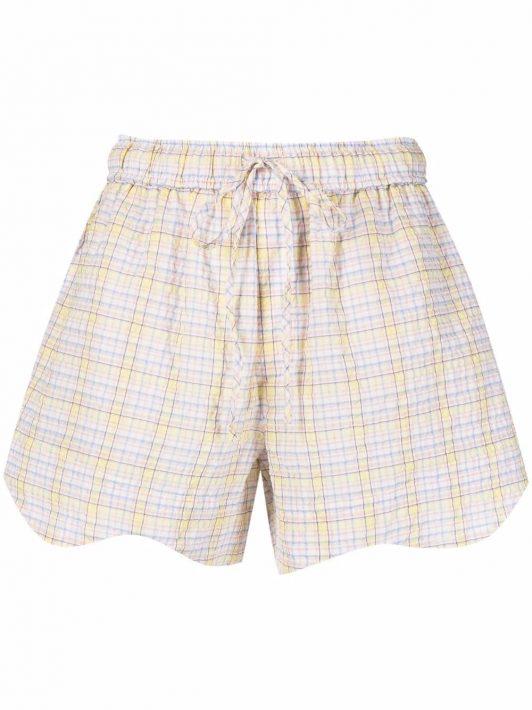 GANNI Karierte Shorts mit Kordelzug - Gelb