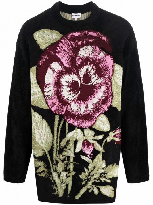 Kenzo Oversized-Pullover aus floralem Jacquard - Schwarz