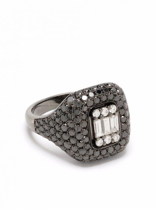 Monan 14kt Weißgoldring mit Diamanten - Silber