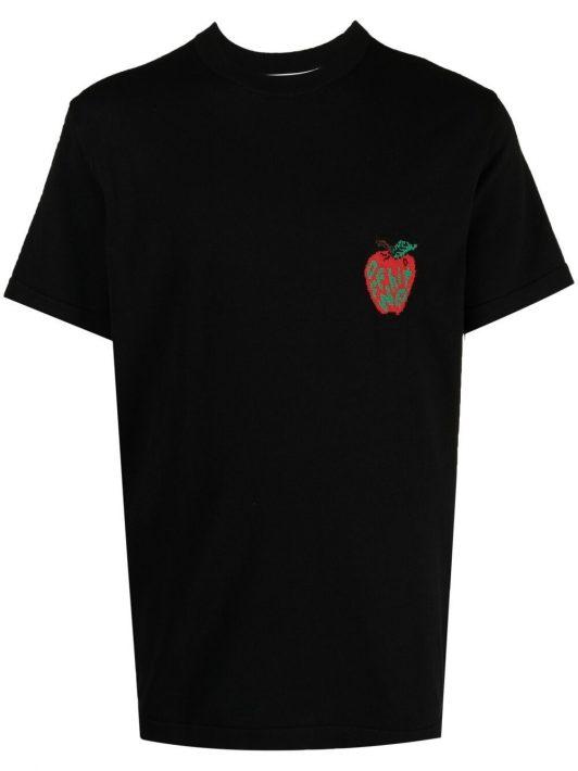 Off-White T-Shirt mit Apfel-Print - Schwarz