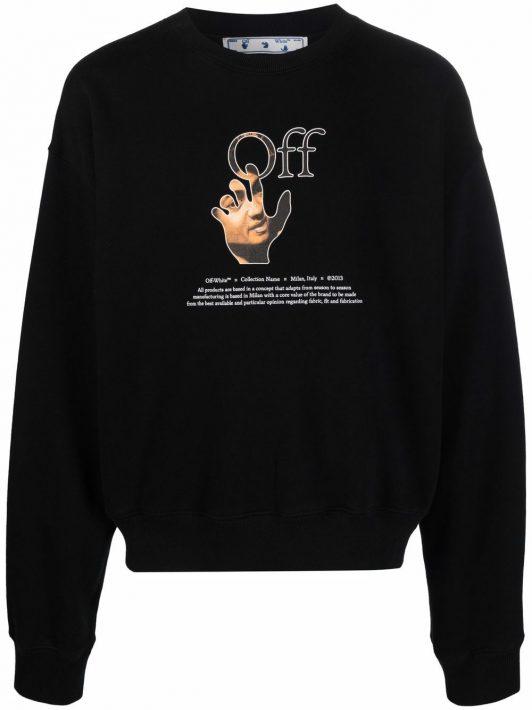 Off-White logo-print long-sleeve sweatshirt - Schwarz