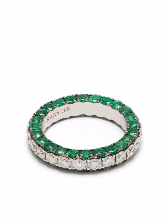 SHAY 18kt Weißgoldring mit Diamanten - Grün