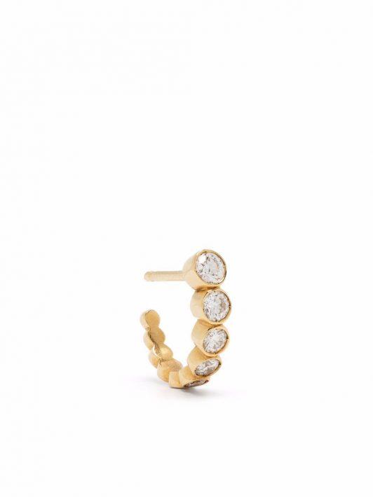 Sophie Bille Brahe 18kt Gelbgoldcreole mit Diamanten - Weiß