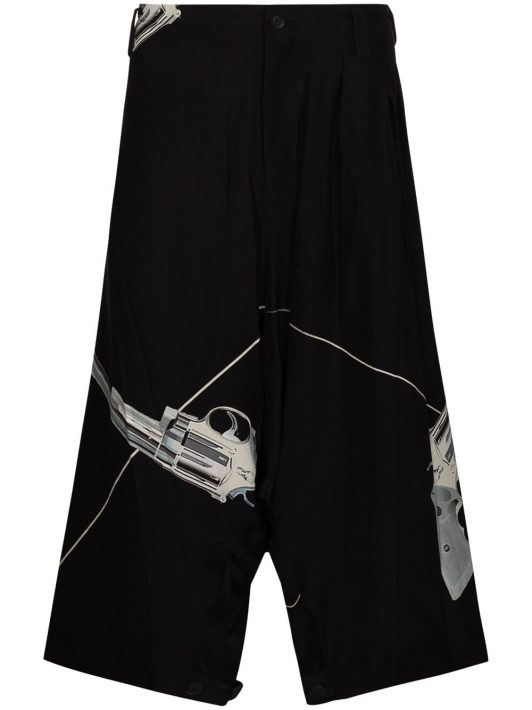 Yohji Yamamoto Sarouel drop-crotch Bermuda shorts - Schwarz
