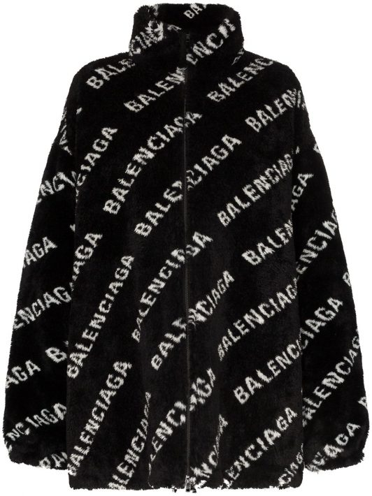 Balenciaga Oversized-Jacke mit Logo - 1001 BLACK WHITE