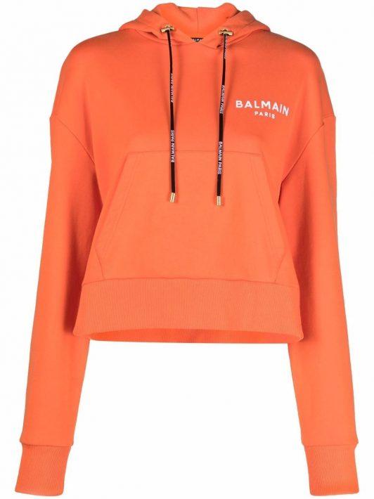 Balmain Cropped-Hoodie mit Logo-Print - Orange