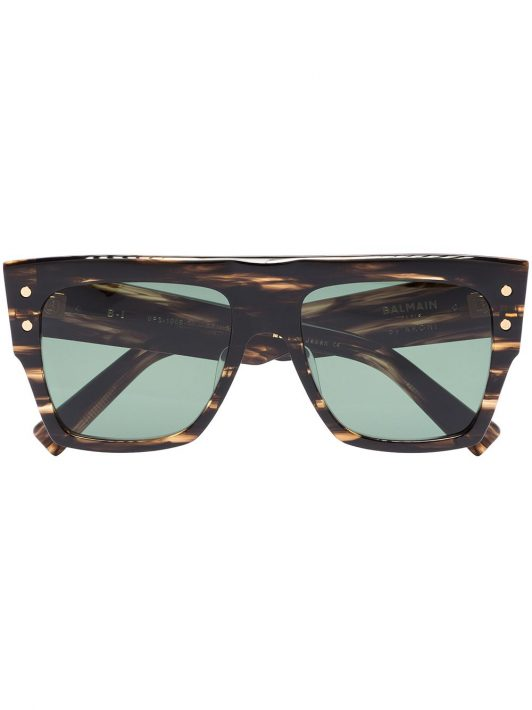 Balmain Eyewear Eckige Sonnenbrille in Schildpattoptik - Braun