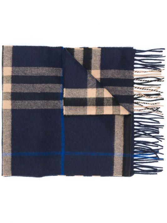 Burberry Karierter Schal mit Fransen - Blau