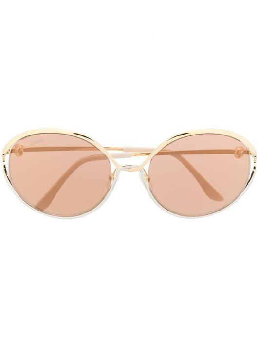Cartier Eyewear Sonnenbrille mit rundem Gestell - Gold
