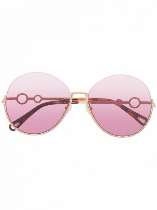 Chloé Eyewear Sonnenbrille mit rundem Gestell - Gold
