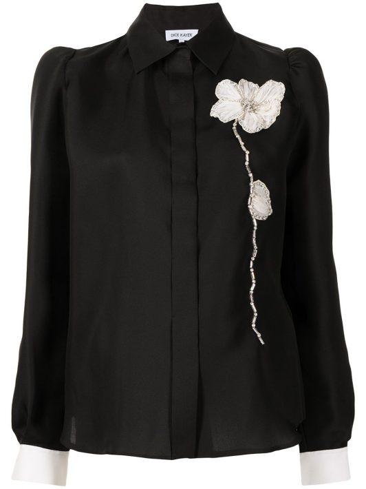 Dice Kayek floral-appliqué silk shirt - Schwarz