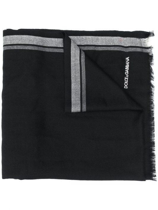Dolce & Gabbana Schal mit gestreiftem Rand - Schwarz