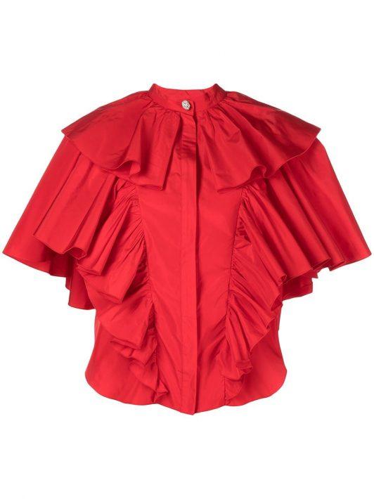 Giambattista Valli Bluse mit Rüschen - Rot