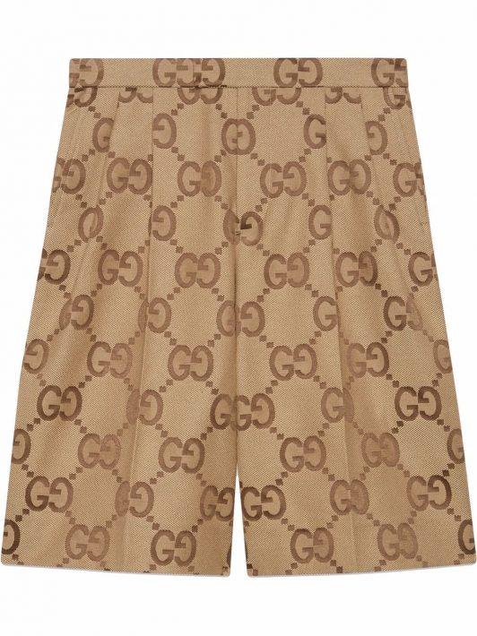 Gucci Canvas-Shorts mit Jumbo GG - Nude