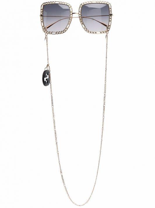 Gucci Eyewear Eckige Sonnenbrille mit Kettendetail - Gold